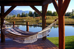 covered deck with hammock